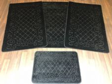 ROMANY GYPSY WASHABLES NICE NON SLIP SET OF 4 MATS-RUGS BLACK CHEAPEST AROUND
